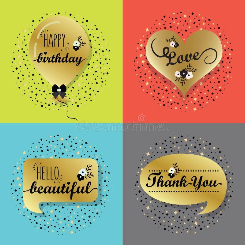 Grupo dourado das bolhas do discurso e de etiquetas do balão ilustração royalty free