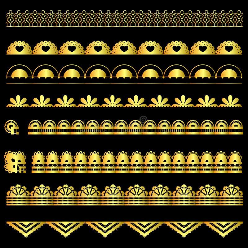 Download Grupo Dourado De Fitas Do Laço Ilustração Stock - Ilustração de quadro, decoração: 80102704