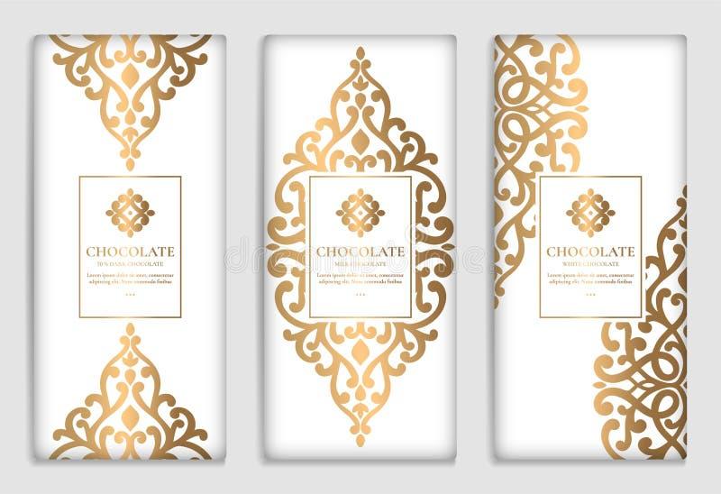 Grupo dourado de projeto de empacotamento da barra de chocolate ilustração stock