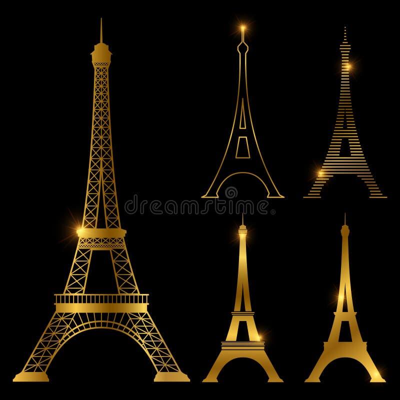 Grupo dourado diferente do marco do vetor da torre Eiffel Ícones do símbolo de Paris ilustração stock