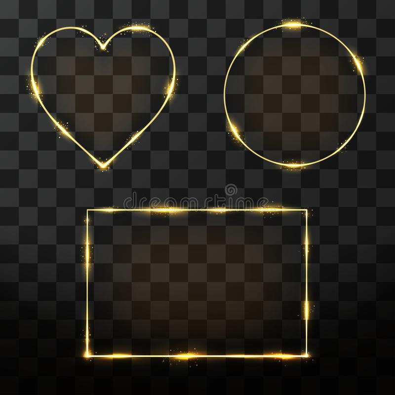 Grupo dourado do quadro do vetor com efeito do fulgor Quadro de néon do retângulo, do círculo e do coração ilustração stock