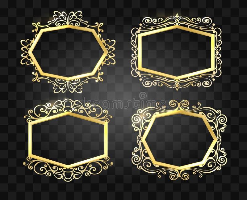 Grupo dourado dos quadros do fulgor ornamentado Ilustra??o do vetor ilustração do vetor
