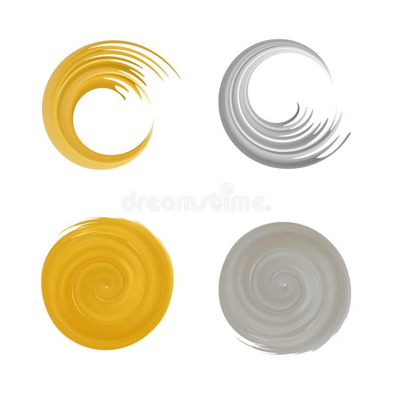 Grupo dourado e de prata do logotipo do redemoinho ilustração royalty free