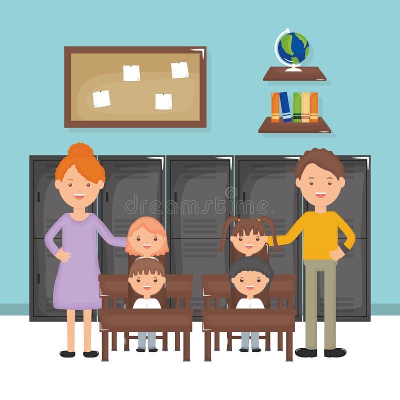Grupo e professores de estudantes pequeno bonito na sala de aula ilustração royalty free