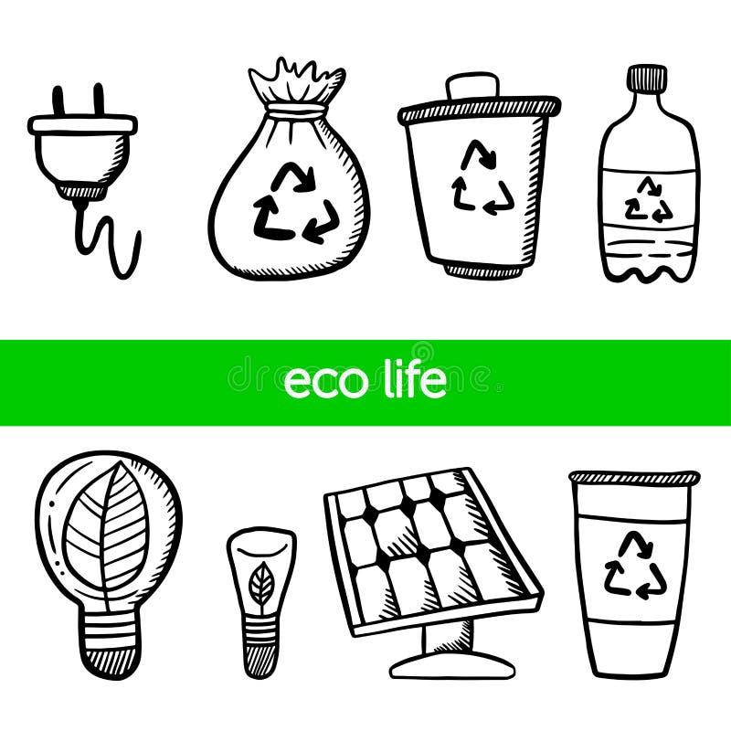 Grupo ecol?gico Bateria solar, garrafa plástica, ampolas do eco ilustração do vetor