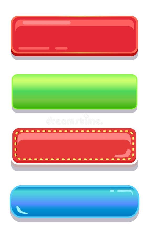 Grupo editável colorido do vetor dos botões da navegação ilustração do vetor