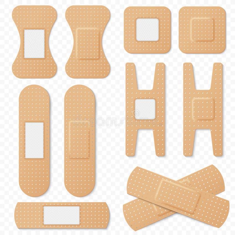 Grupo elástico do vetor dos emplastros da atadura adesiva médica Remendo elástico realístico da atadura, emplastro médico isolado ilustração do vetor