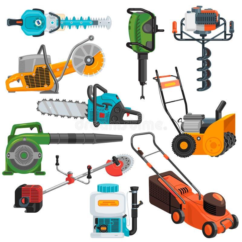 Grupo elétrico da ilustração do cortador de grama da circular-serra do equipamento de construção do vetor das ferramentas elétric ilustração royalty free