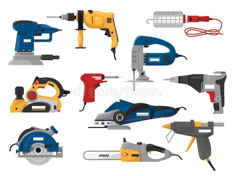 Grupo elétrico da maquinaria da ilustração do moedor da poder-plaina da circular-serra do equipamento de construção do vetor das  ilustração do vetor
