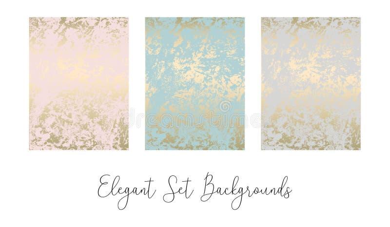 Grupo elegante de texturas luxuosas do ouro de mármore abstrato na moda chique ilustração stock