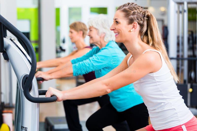 Grupo em placas de vibração no treinamento do gym fotografia de stock