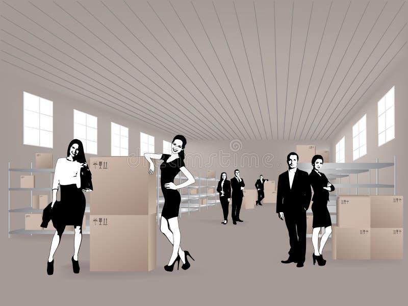 Grupo en almacén stock de ilustración