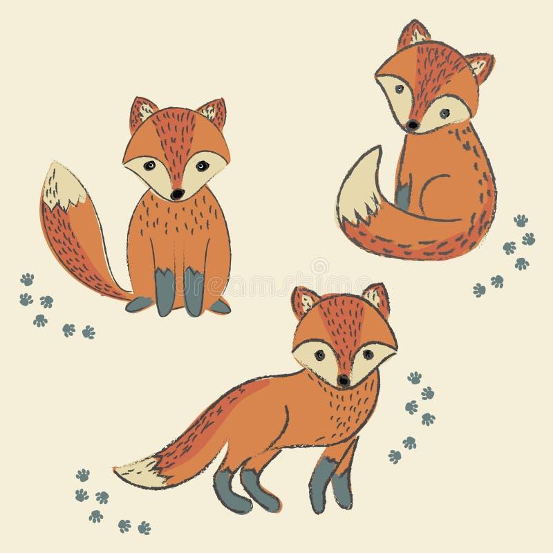 Grupo engraçado com a raposa fresca bonito ilustração royalty free