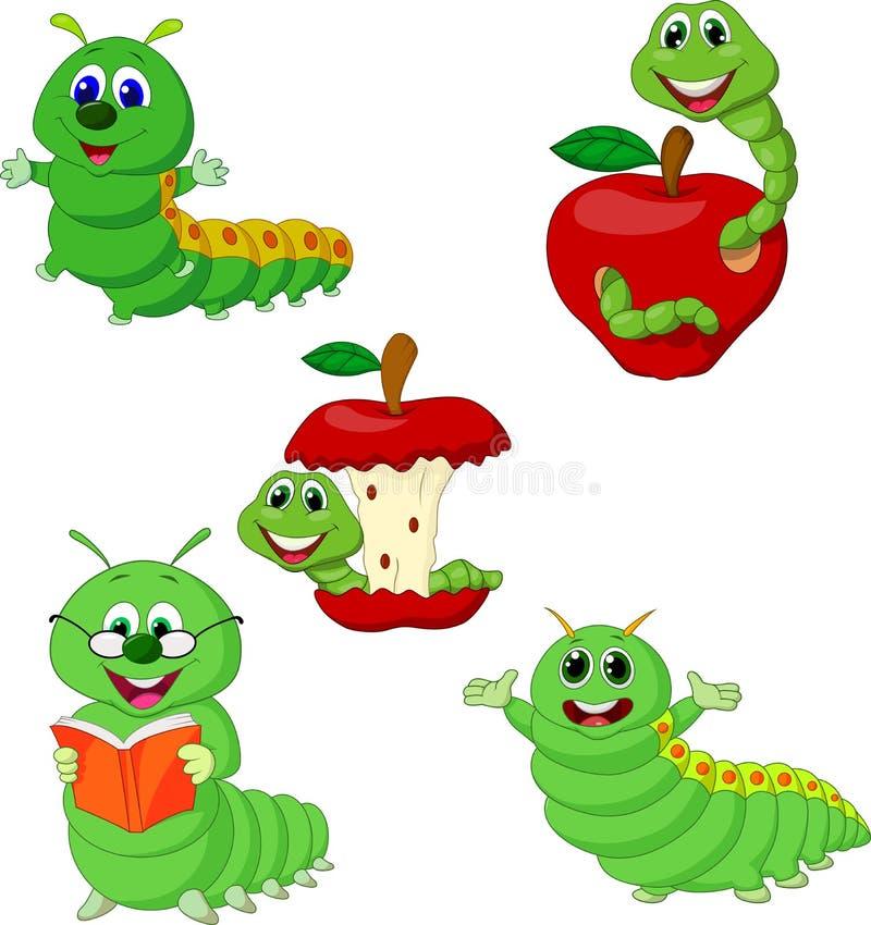 Grupo engraçado da coleção de Caterpillar dos desenhos animados ilustração stock