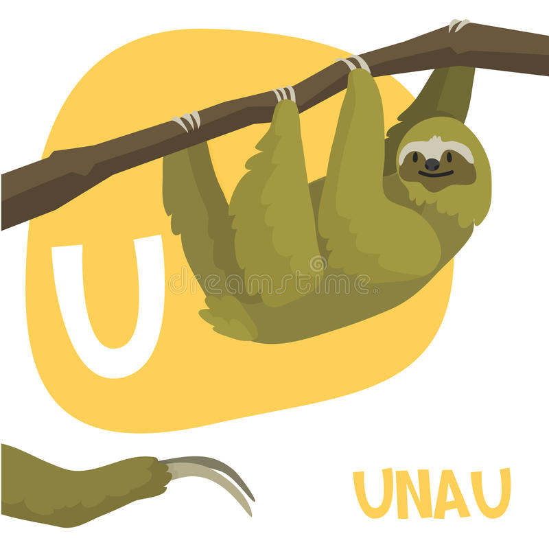 Grupo engraçado da letra do alfabeto do vetor dos animais dos desenhos animados ilustração stock