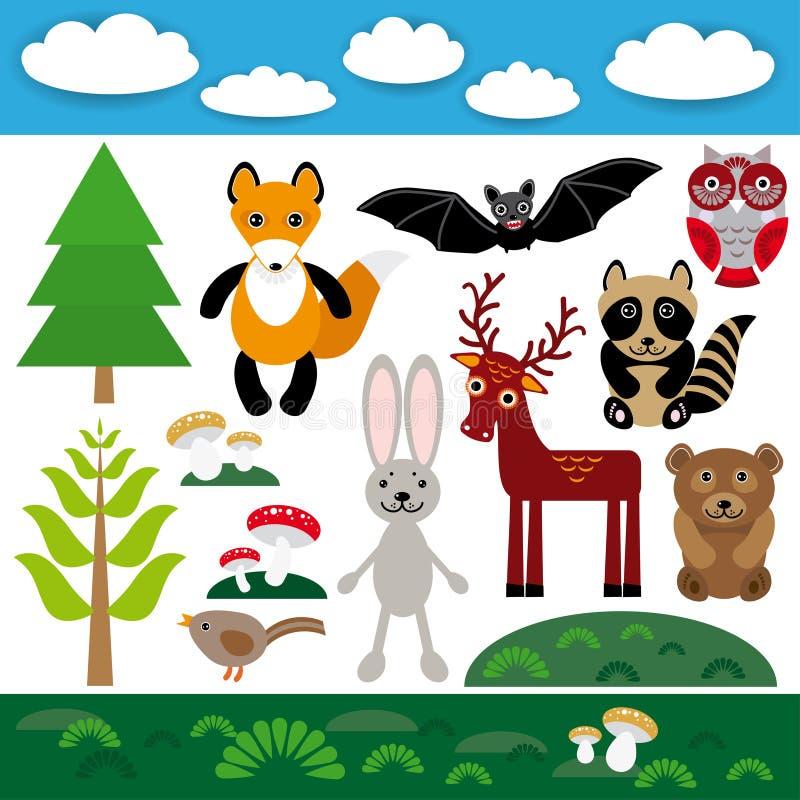 Grupo engraçado de animais selvagens bonitos, de floresta e de nuvens Fox, urso, coelho, guaxinim, bastão, cervo, coruja, pássaro ilustração stock