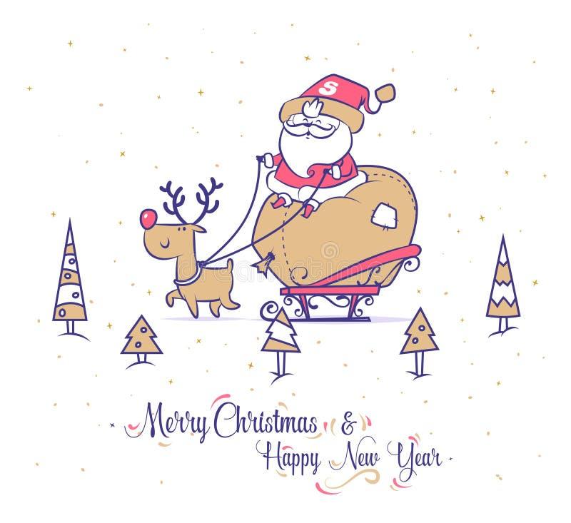 Grupo engraçado de Santa Cartaz do fundo do cartão do Natal Ilustração do vetor ilustração do vetor