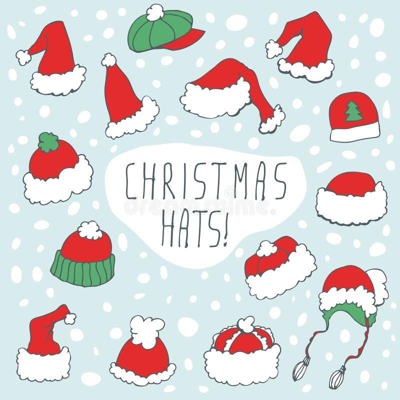 Grupo engraçado do chapéu do Natal ilustração stock