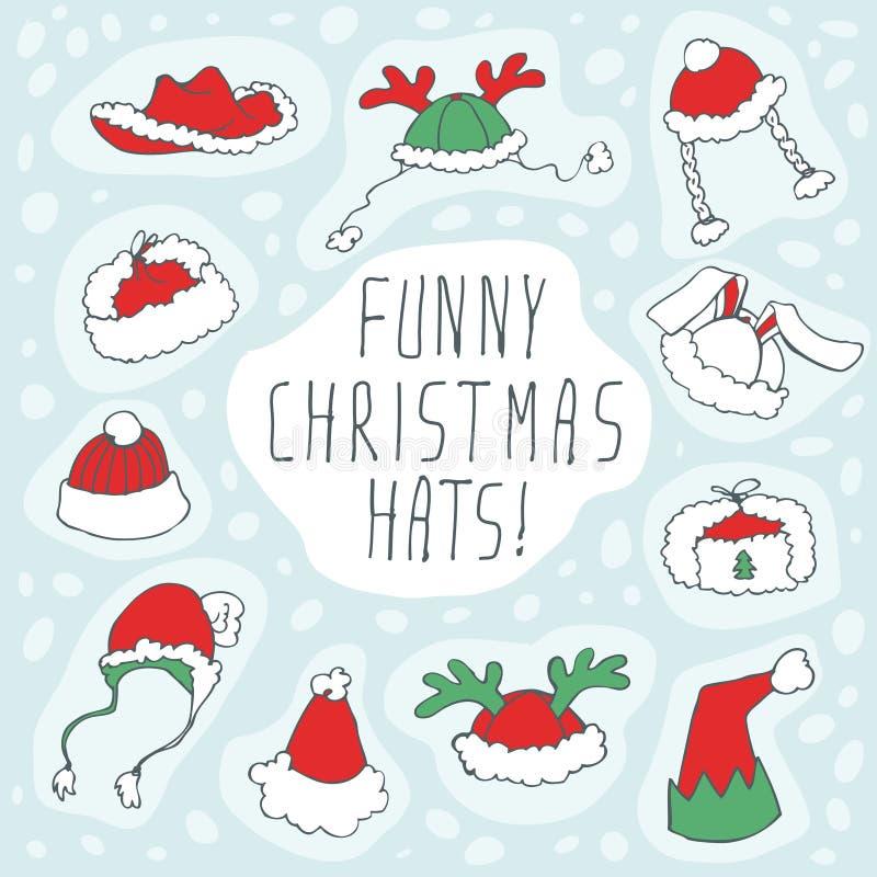 Grupo engraçado do chapéu do Natal ilustração royalty free