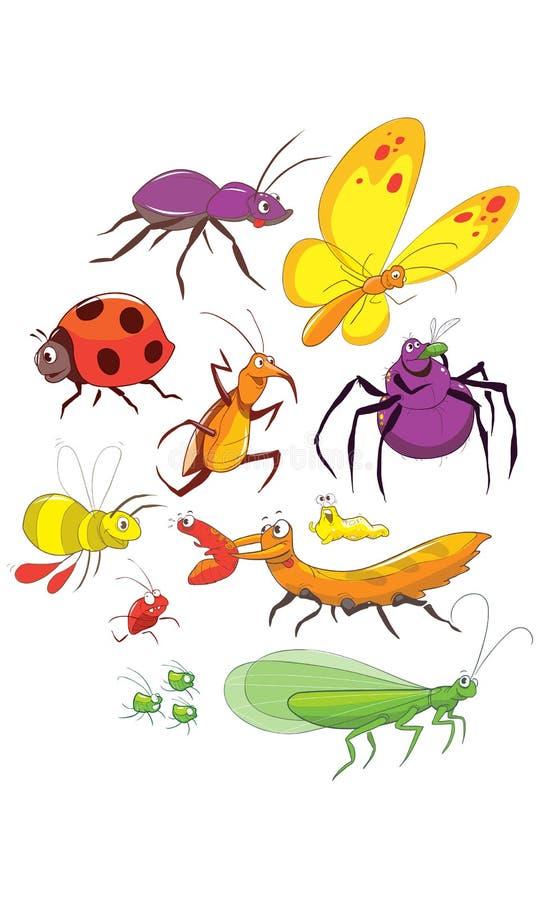 Grupo engraçado do erro Insetos felizes dos desenhos animados da coleção Mão colorida ilustração tirada ilustração royalty free
