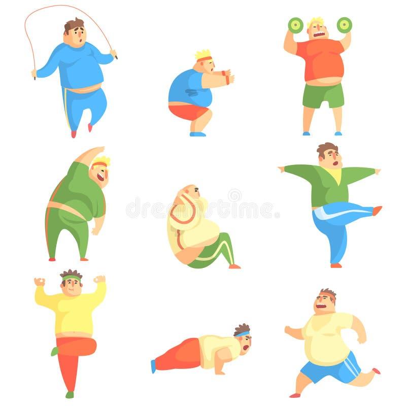 Grupo engraçado do exercício de Chubby Man Character Doing Gym de ilustrações ilustração do vetor