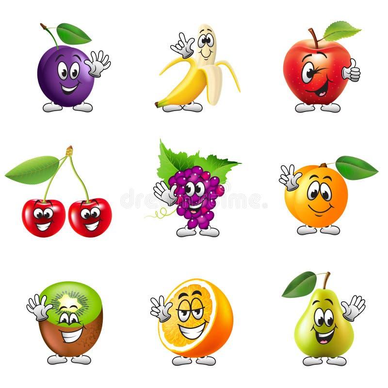 Grupo engraçado do vetor dos ícones dos frutos dos desenhos animados ilustração stock