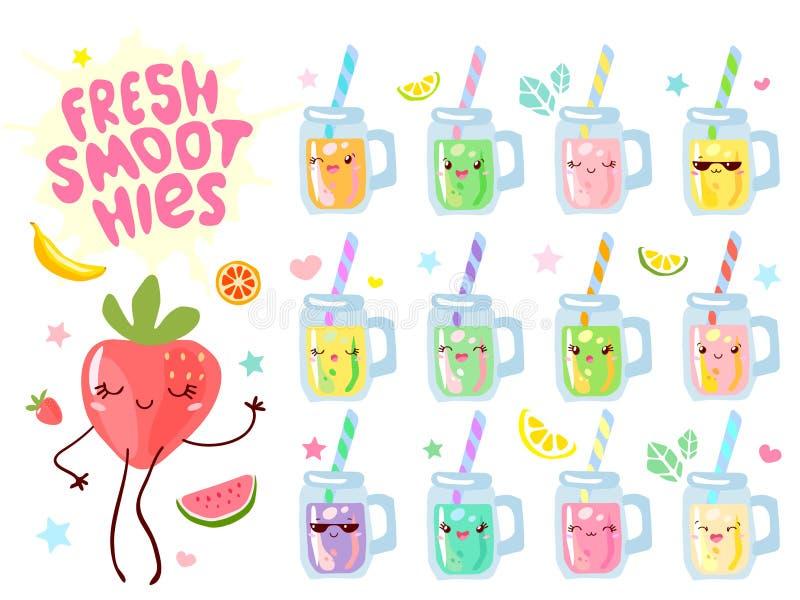 Grupo engraçado dos caráteres dos frascos frescos bonitos das canecas do iogurte do suco do batido Coleção feliz de sorriso do es ilustração do vetor