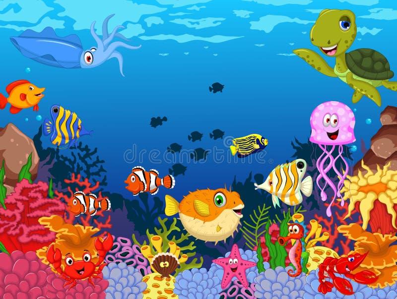 Grupo engraçado dos desenhos animados dos animais de mar ilustração royalty free