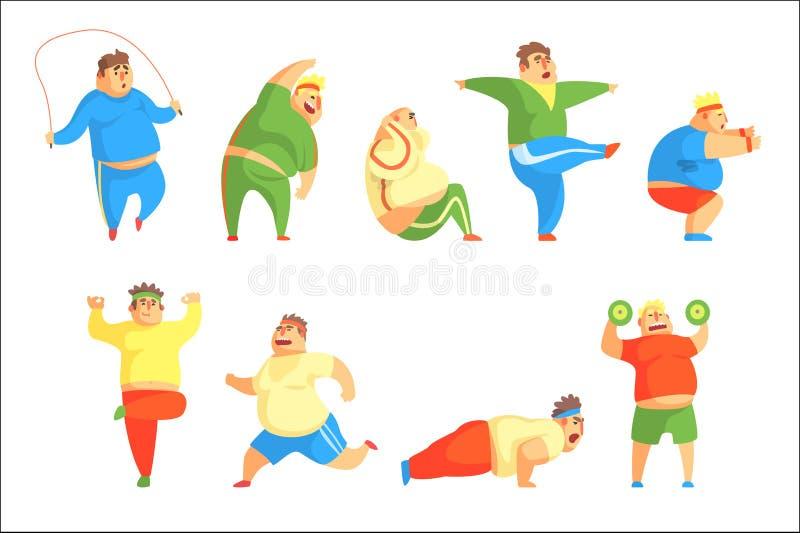 Grupo engra?ado do exerc?cio de Chubby Man Character Doing Gym de ilustra??es ilustração do vetor