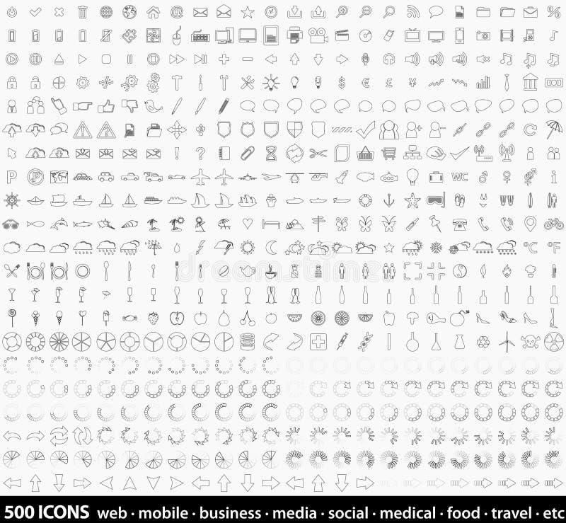 Grupo enorme 500 da linha detalhada ícones da Web da arte ilustração royalty free