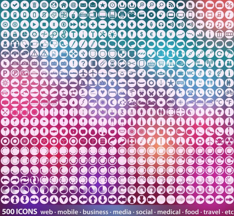 Grupo enorme de 500 ícones detalhados da Web ilustração royalty free