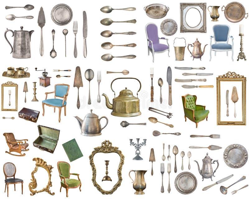 Grupo enorme de artigos antigos Artigos do agregado familiar do vintage, pratas, mobília e mais Isolado no fundo branco ilustração do vetor