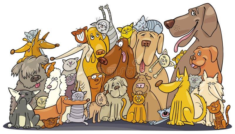 Grupo enorme de gatos y de perros stock de ilustración