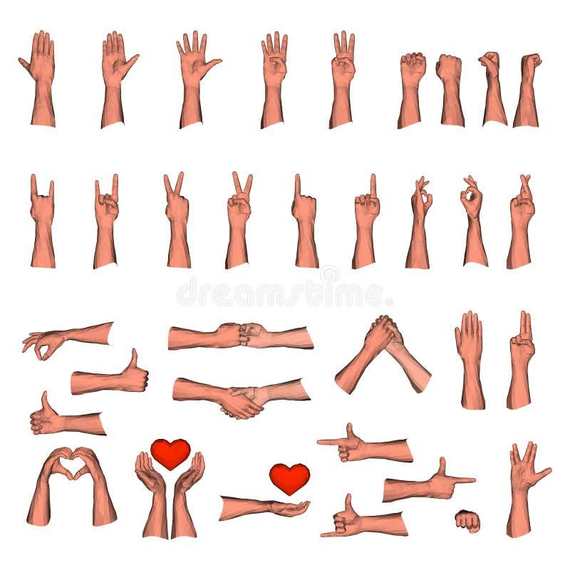 Grupo enorme de gestos de mãos do homem ilustração royalty free