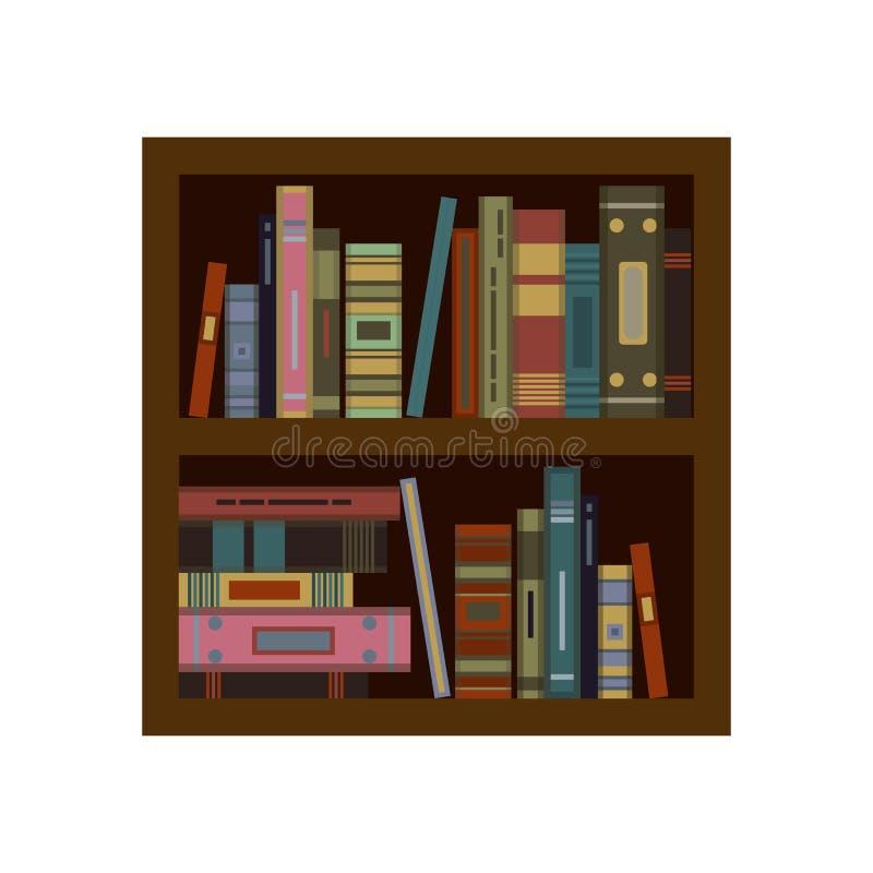 Grupo enorme de livros velhos no bookshalf Vetor liso ilustração do vetor