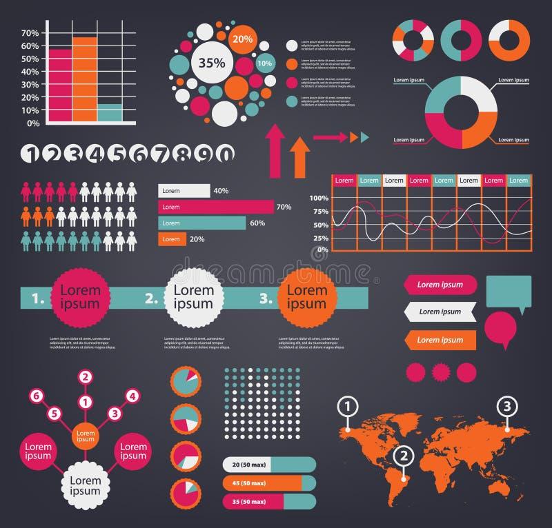 Grupo enorme do vetor de elementos infographic do projeto Use-os para a apresentação, anunciando ilustração royalty free
