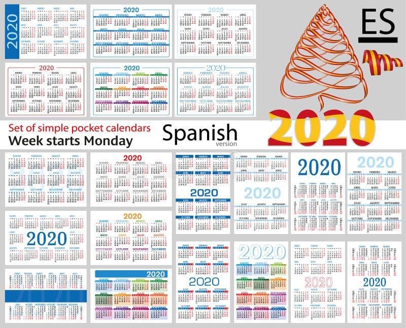 Grupo espanhol de calendários do bolso para 2020 ilustração do vetor