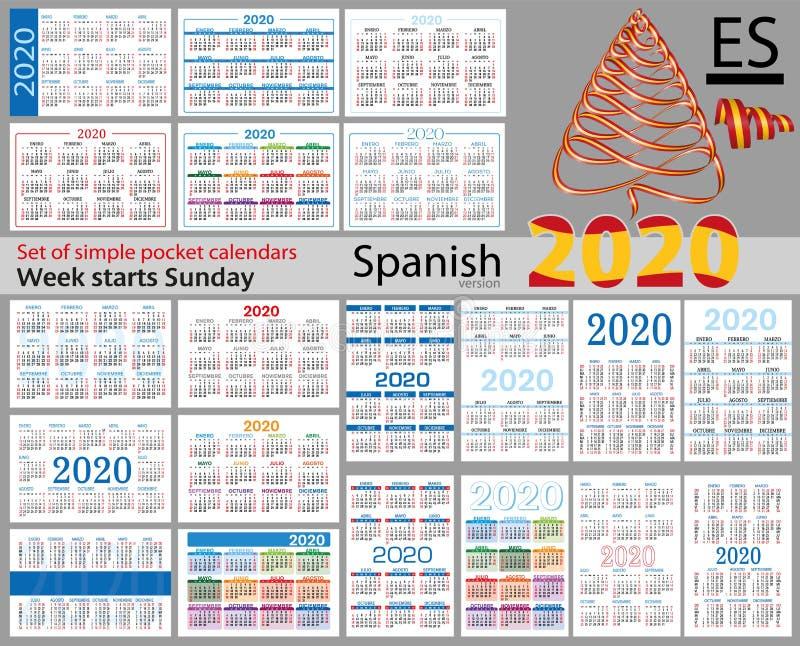 Grupo espanhol de calend?rios do bolso para 2020 ilustração do vetor