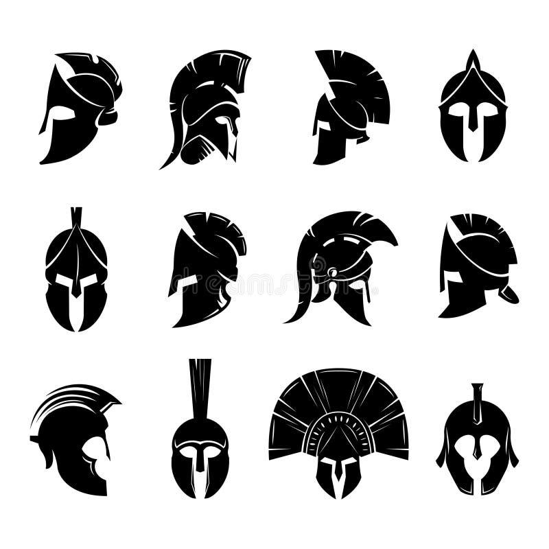 Grupo espartano do vetor do capacete ilustração do vetor