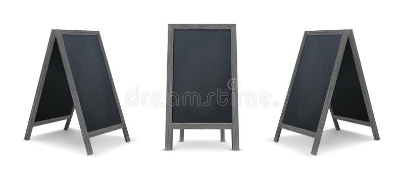 Grupo especial realístico do ícone da placa do anúncio do menu Fundo exterior do quadro-negro do restaurante limpo do vetor Model ilustração stock