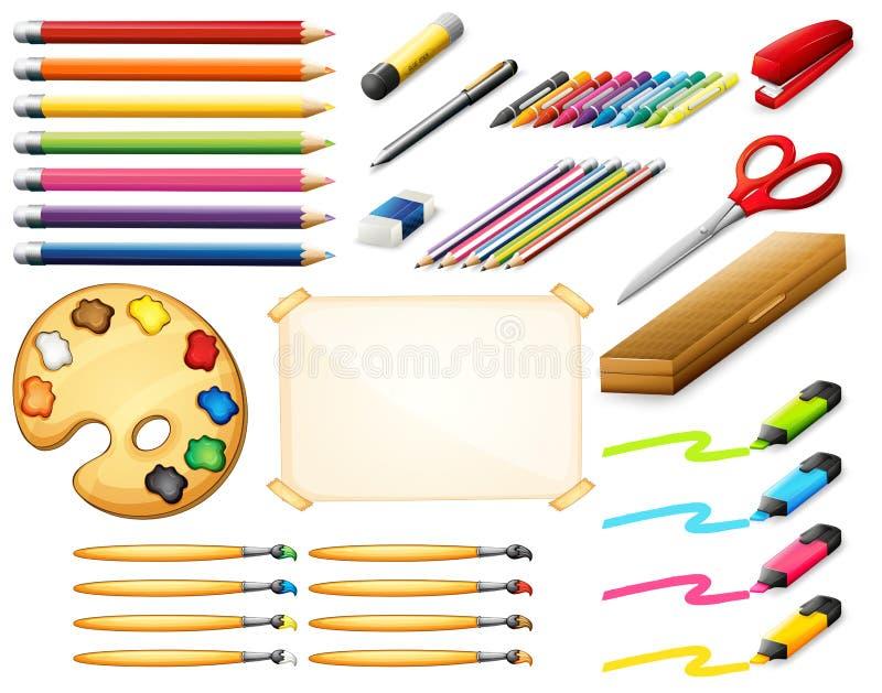 Grupo estacionário com colorpencils e objetos da arte ilustração do vetor