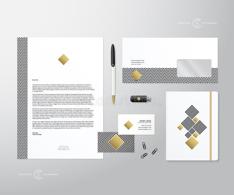 Grupo estacionário da geometria criativa e do vetor realístico do ouro com sombras macias Bom como o molde ou a zombaria acima pa ilustração do vetor