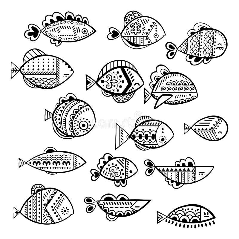 Grupo estilizado sem emenda dos peixes do vetor ilustração stock