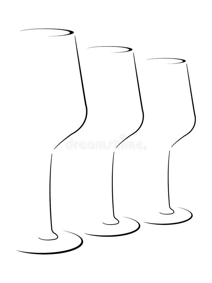 Grupo estilizado sumário de copos de vinho ilustração stock