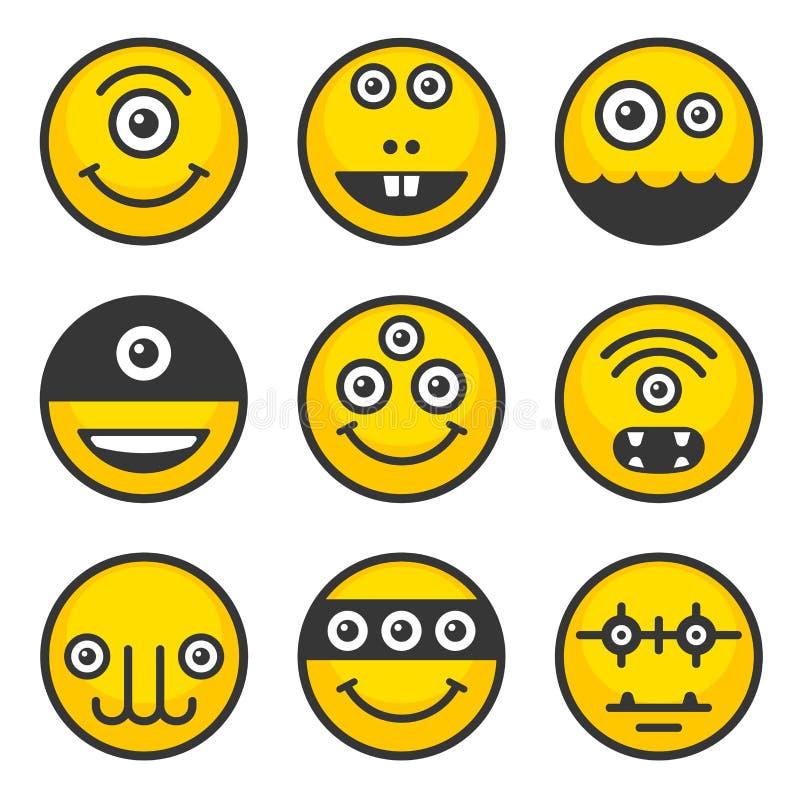 Grupo estrangeiro bonito dos monstro Ícones amarelos do Avatar Vetor ilustração stock