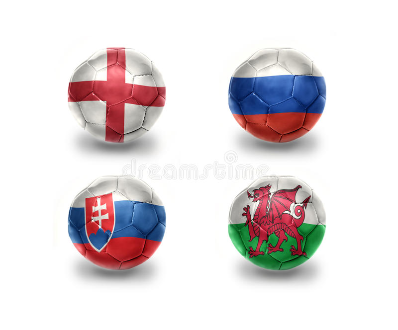 Grupo euro B bolas del fútbol con las banderas nacionales de Inglaterra, Rusia, Eslovaquia, País de Gales ilustración del vector