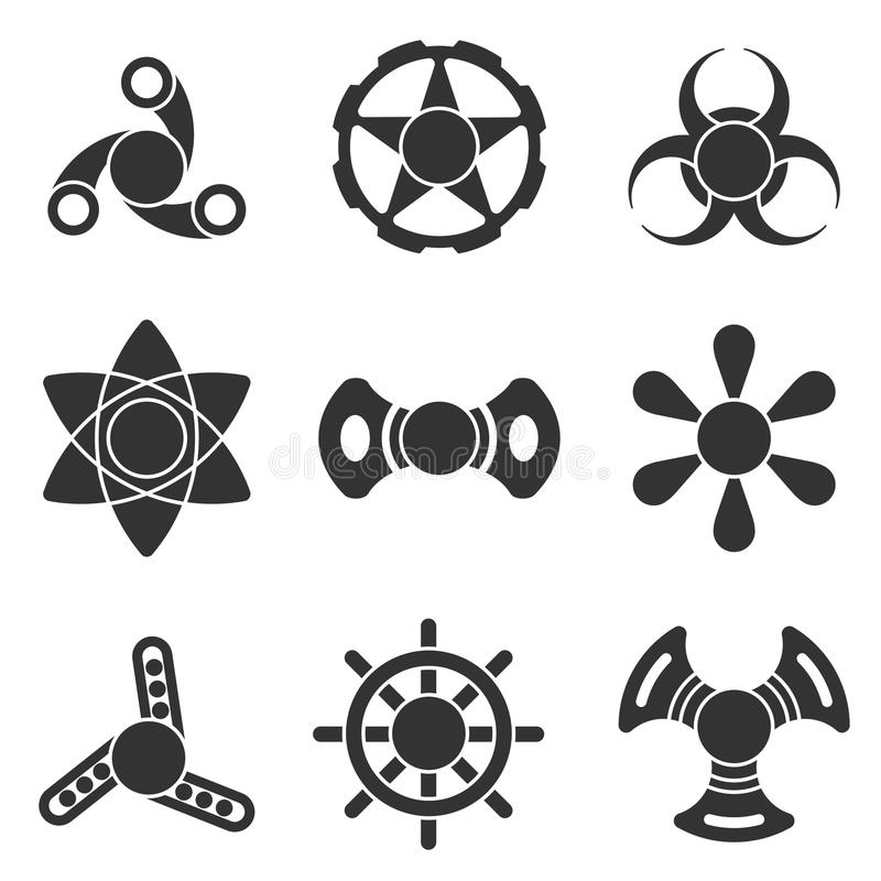 Grupo extra do ícone da forma do vetor do girador da inquietação da mão ilustração royalty free