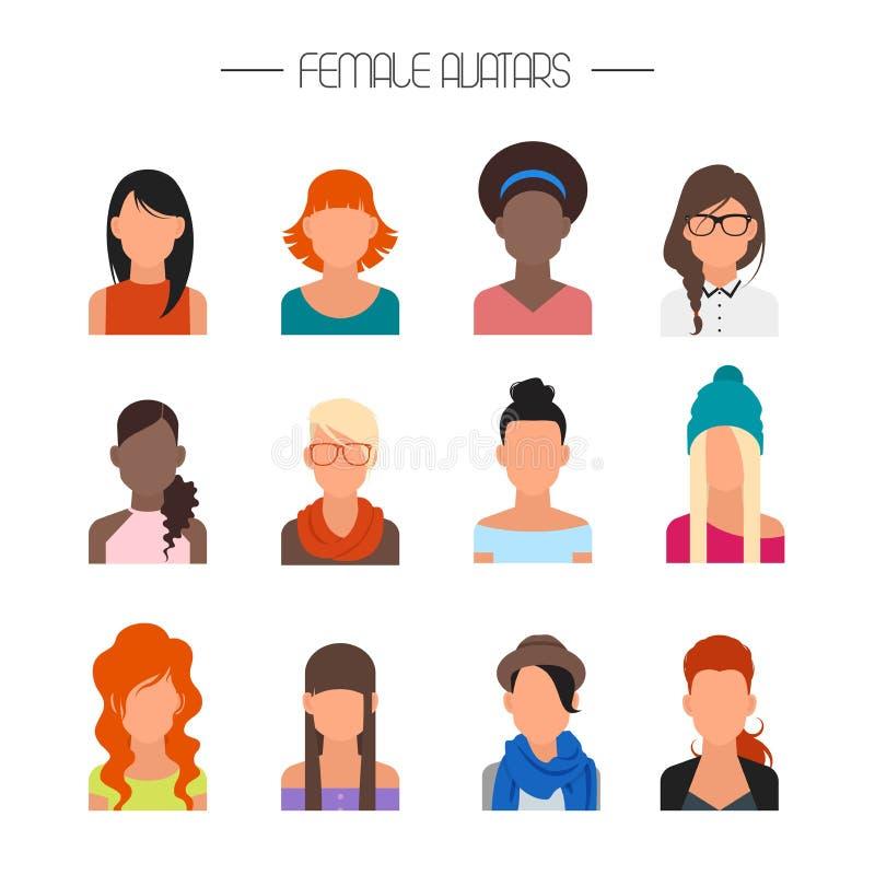 Grupo fêmea do vetor dos ícones do avatar Caráteres dos povos no estilo liso Elementos do projeto no fundo ilustração do vetor