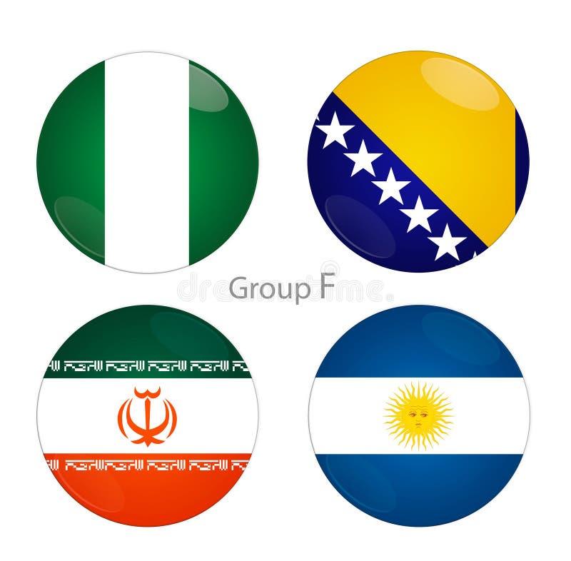 Grupo F - Nigéria, Bósnia, Irã, Argentina ilustração royalty free