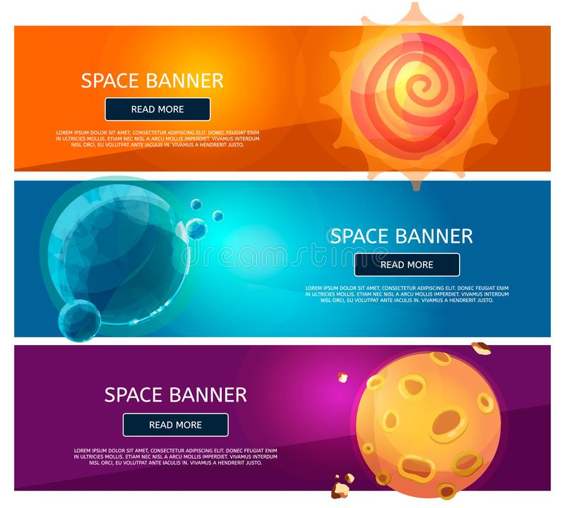 Grupo fantsy criativo da bandeira dos planetas ilustração stock